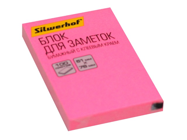 Стикер 51*76мм Silwerhof 100л неон розовый 1204465