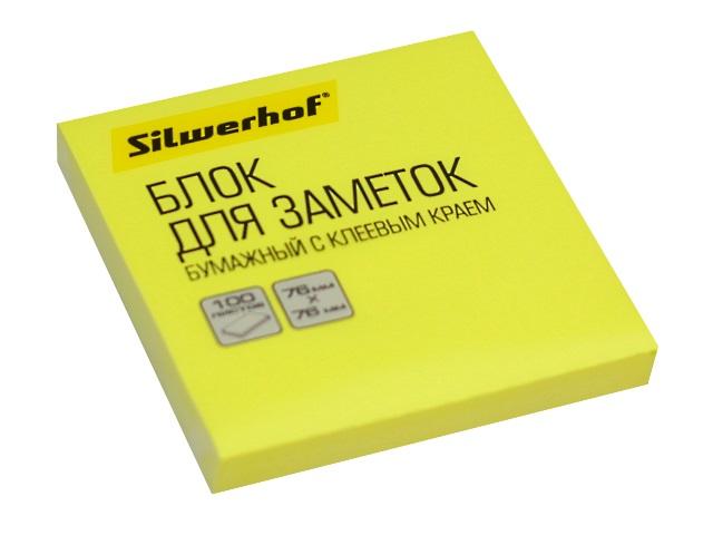 Стикер 76* 76мм Silwerhof 100л неон желтый 1204468