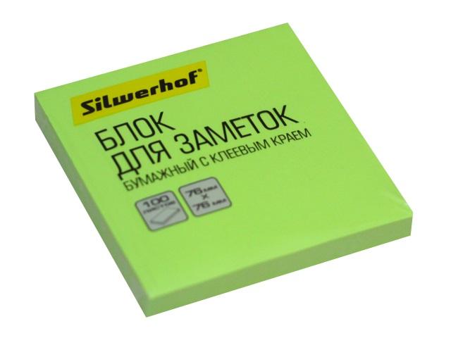 Стикер 76* 76мм Silwerhof 100л неон зеленый 1204469
