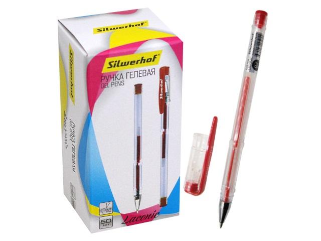 Ручка гелевая Silwerhof Laconic красная 0.7мм 026173-04