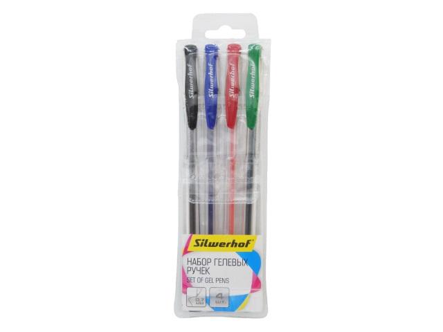 Ручка гелевая набор   4цв Silwerhof Laconic 0.7мм 026176-00