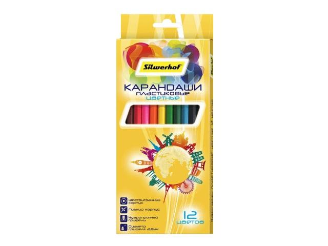 Карандаши цветные 12цв Silwerhof пластик шестигранные 134215-12