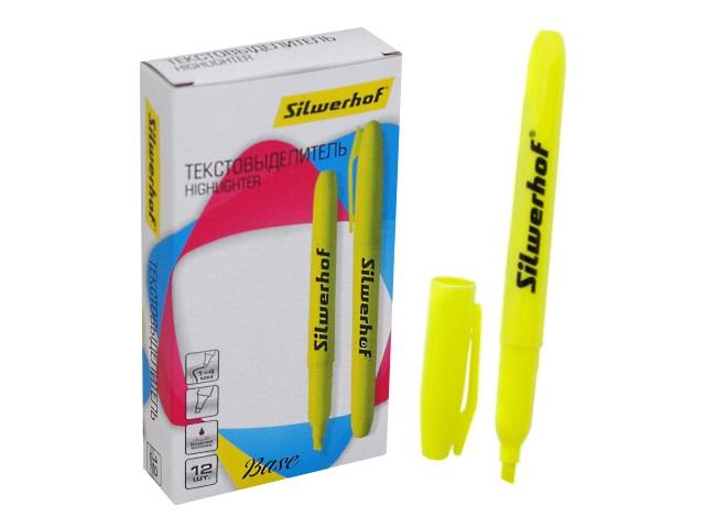 Маркер текстовый Silwerhof Base желтый скошенный 1-4мм 108034-02