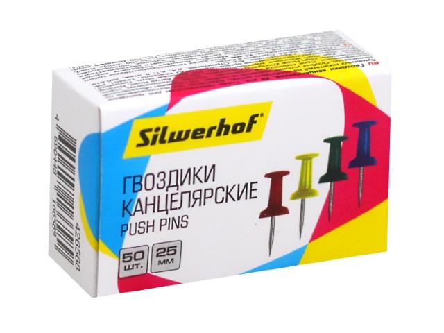 Кнопки-гвозди Silwerhof 50шт 25мм цветные 426568