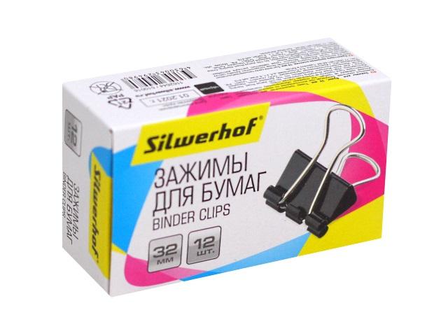 Биндер черный 32 мм Silwerhof 510016