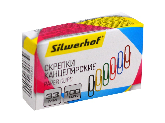 Скрепки 33мм 100шт Silwerhof цветные 492021