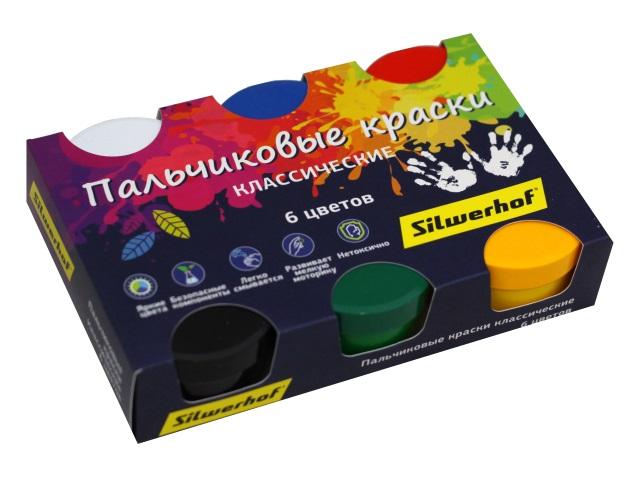 Краски пальчиковые  6 цветов по 60мл Silwerhof Классика 961136-06
