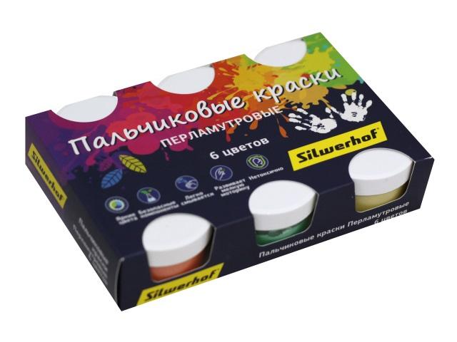 Краски пальчиковые  6 цветов по 60мл Silwerhof Перламутр 961137-06