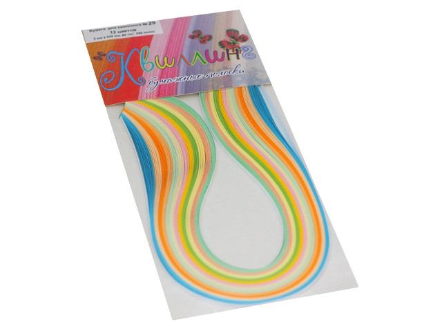 Квиллинг Бумага 250 полос  8 цветов 3*420 мм пастельные цвета Everest print № 29