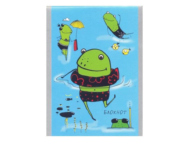 Блокнот А6 Апплика на скобе м/обложка 32л Забавные лягушки С0100-276