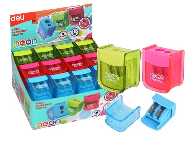 Точилка пластик двойная Deli Neon ER00500