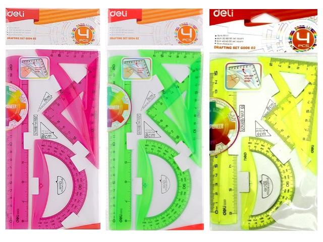 Набор чертёжный 3 предмета 20 см Deli цветной EG00402