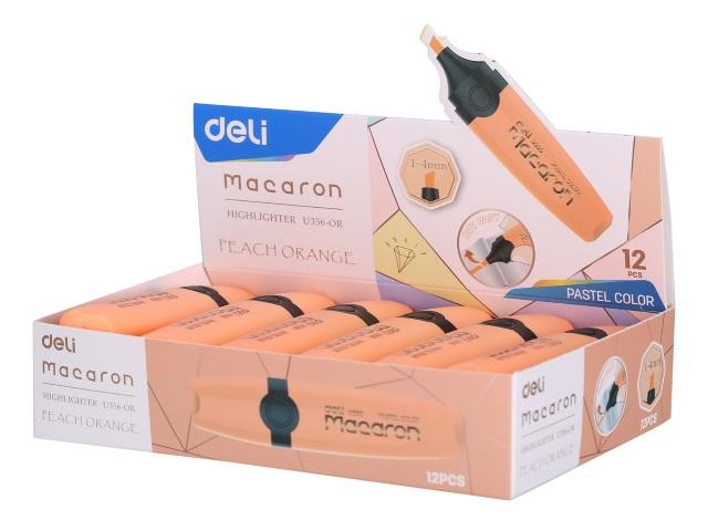 Маркер текстовый Deli Macaron персиковый скошенный 1-5мм U356-OR
