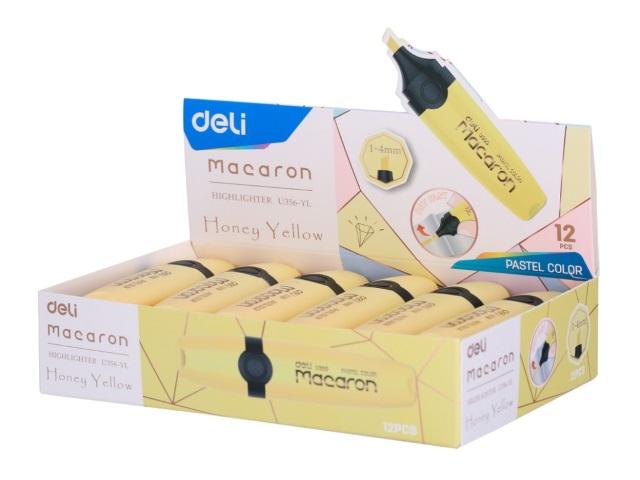 Маркер текстовый Deli Macaron желтый скошенный 1-5мм U356-YL