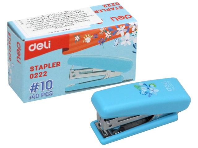 Степлер №10 12л Deli пластик цветной с антистеплером E0222