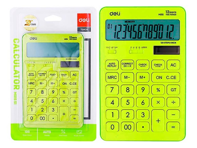 Калькулятор 12-разрядный Deli 11*17см желтый EM01551