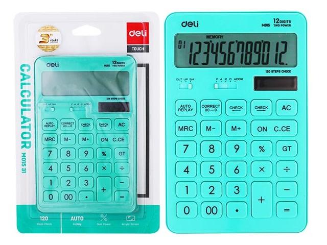 Калькулятор 12-разрядный Deli 11*17см голубой EM01551