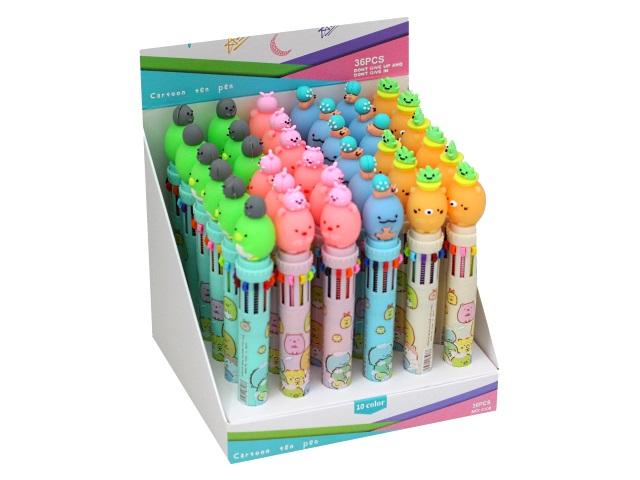 Ручка шариковая 10-ти цветная автомат Basir Зверюшки HLL-8108A