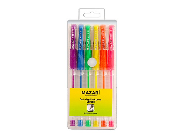 Ручка гелевая набор   6цв Mazari Lipari 0.5мм М-5510-6