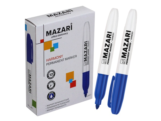 Маркер перманентный Mazari Harmony синий круглый 2мм М-5001-70