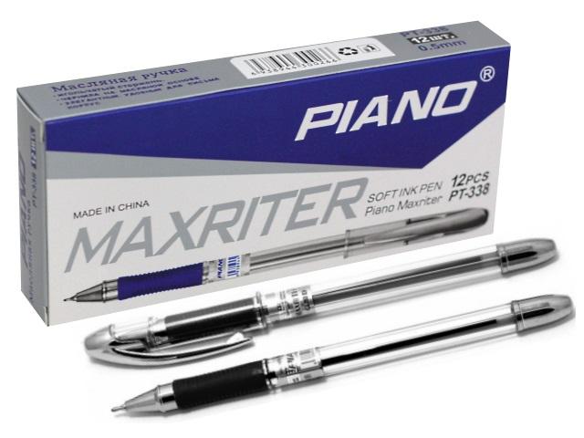 Ручка масляная Piano Maxriter серебряный корпус черная 0.5мм РТ-338