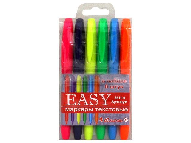 Маркеры текстовые 6 цветов J.Otten Easy скошенные 1-4мм 2511-6