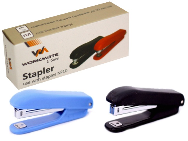 Степлер №10 10л WM пластик цветной с антистеплером 075000600