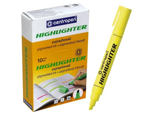 Маркер текстовый Centropen 8852 желтый скошенный 1-4.6мм