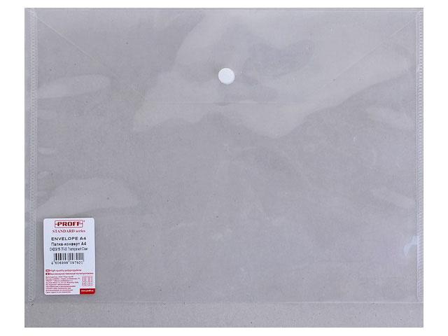 Папка конверт на кнопке, А4, белая, Proff Standard