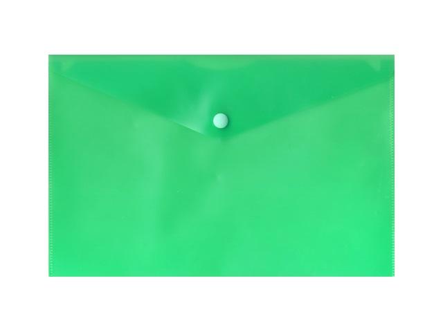 Папка конверт на кнопке, А5, прозрачная, зеленая, Бюрократ