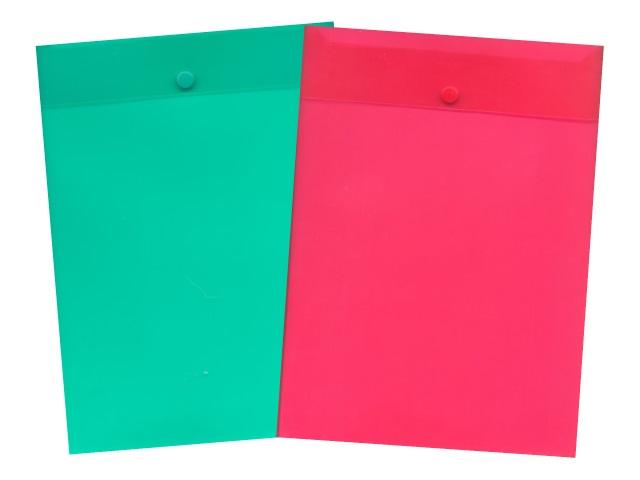 Папка конверт на кнопке, А4, вертикальная, прозрачная, цвета в ассортименте, Kanzfile