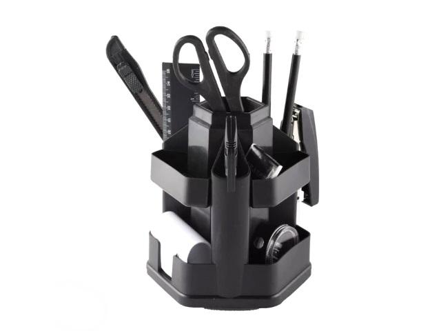 Канцелярский набор, 14 предметов, вращающийся, черный, WorkMate