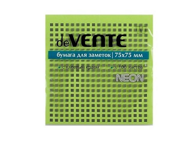Стикер 75*75 мм 100 листов неоновый зеленый, DeVente 2010330