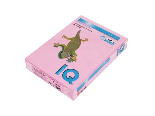 Бумага А4, 160 г/м, 250 листов, розовая, IQ