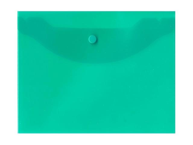 Папка конверт на кнопке, В5, прозрачная, зеленая, Kanzfile
