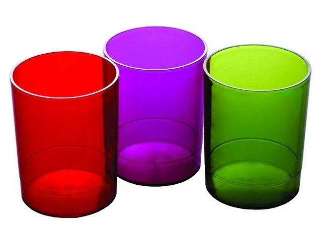 Стакан для ручек пластиковый тонированный круглый, цвета в ассортименте, Стамм СН60