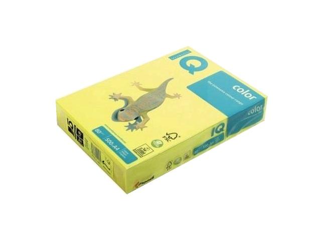 Бумага А4, 80 г/м, 500 листов, неоновая желтая, IQ