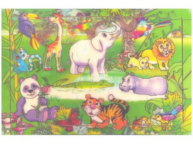 Пазл деревянный, Животный мир, цветной, 29*21см., Tukzar