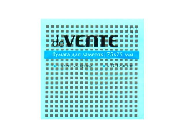 Стикер, 75*75 мм, 100 листов, неоновый голубой, DeVente