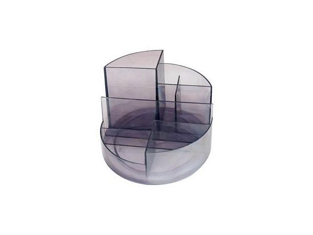 Подставка для ручек, 7 отделений, пластиковая, прозрачная, тонированная, серая, круглая, Профи, Стамм