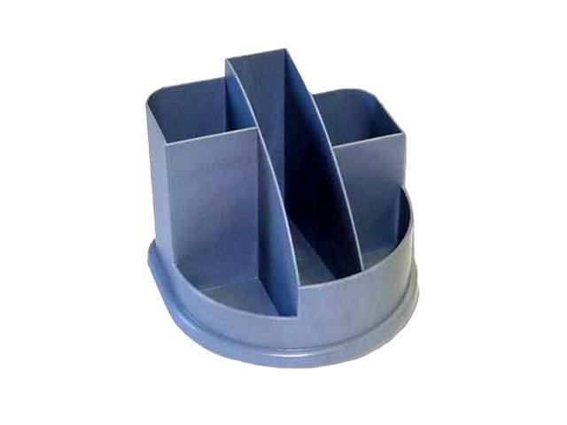 Подставка для ручек, 5 отделений, пластиковая, серая, круглая, Авангард, Стамм