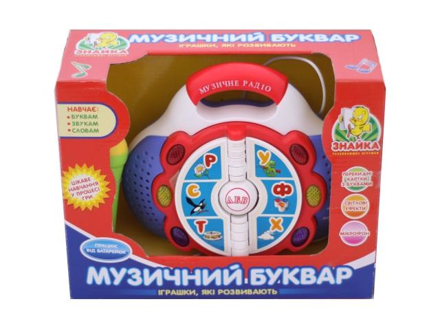 Развивающая игрушка, Букварь музыкальный, на батарейках + микрофон, украинский алфавит (буквы, звуки, слова), в коробке, Знайка