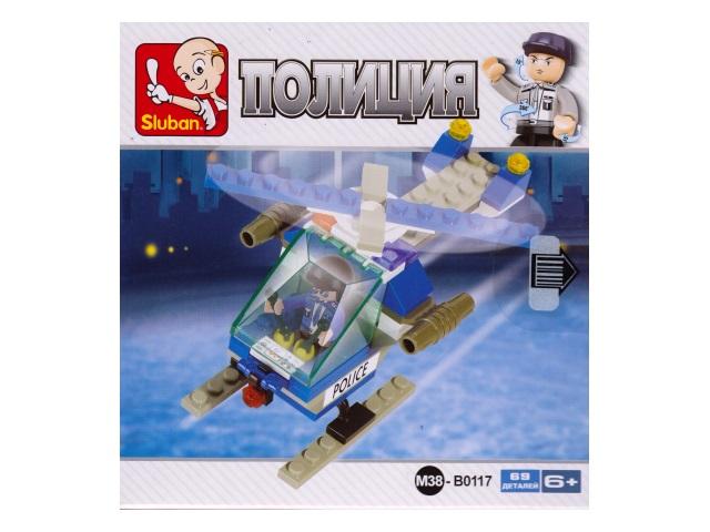 Конструктор 69 деталей, Полиция, Воздушный патруль, в коробке, Sluban