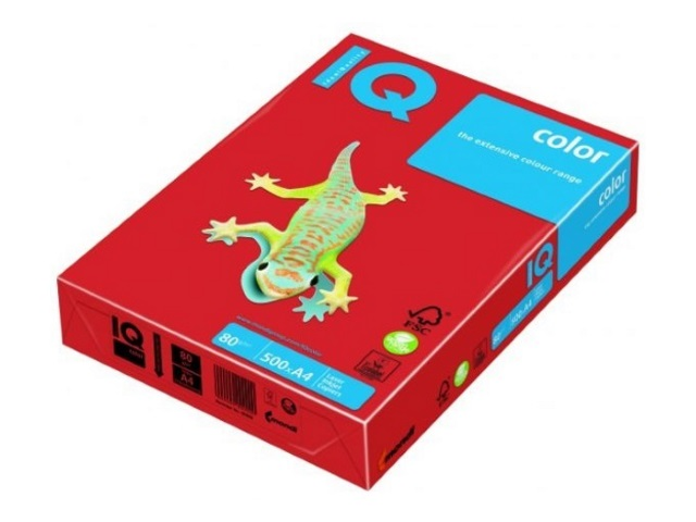 Бумага А4, 160 г/м, 250 листов, кораллово-красная, IQ