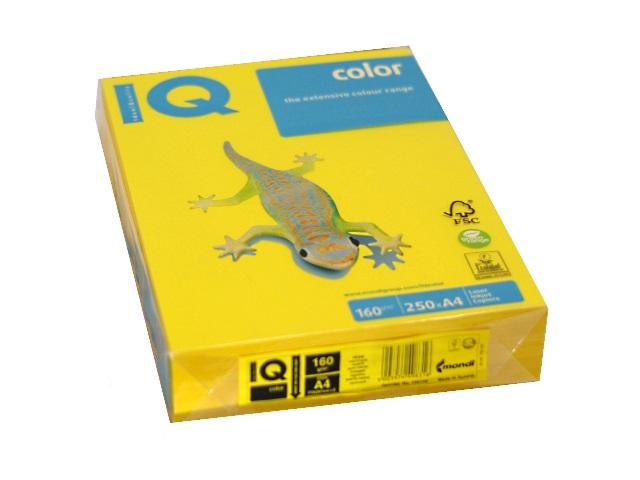 Бумага А4, 160 г/м, 250 листов, горчичная, IQ