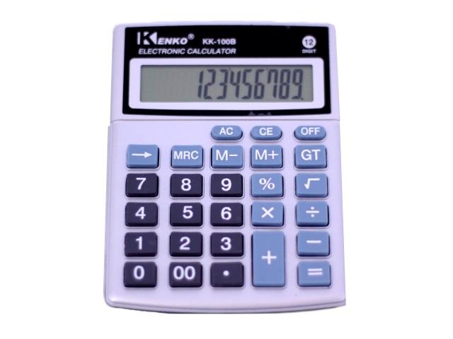 Калькулятор, 12-разрядный, серый, 14*10см., Kenko