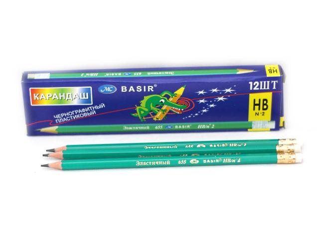 Карандаш HB, с ластиком, шестигранный, пластиковый, эластичный, Basir