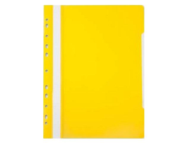 Скоросшиватель А4, с европерфорацией, желтый, глянцевый, Бюрократ