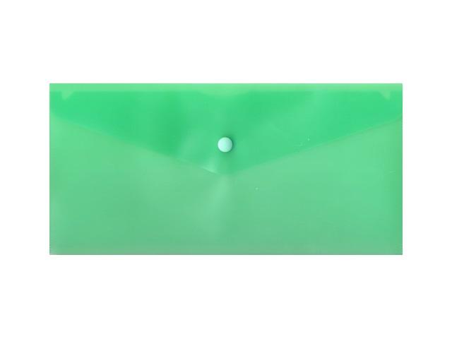 Папка конверт на кнопке, DL, прозрачная, зеленая, Бюрократ
