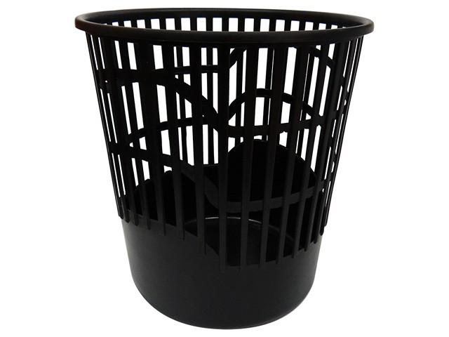 Корзина для бумаг пластиковая, сетка, 10л., черная, Workmate
